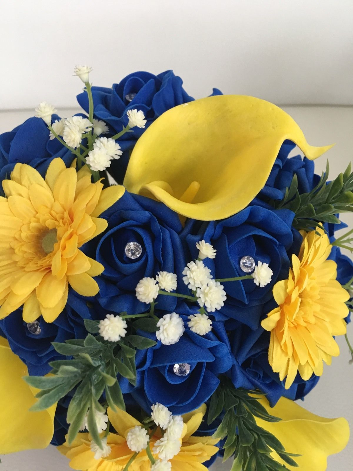 Outstanding blue and yellow flower bouquet image collection ball bouquet wedding mixed flower blue yellow bridesmaid vintage country izmirmasajfo